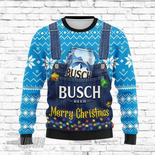 Merry Christmas Busch Light Beer All Over Print Ugly Christmas Sweater1