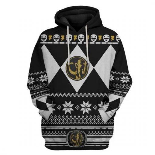 Mighty Morphin Black Power Rangers 3D Christmas Hoodie