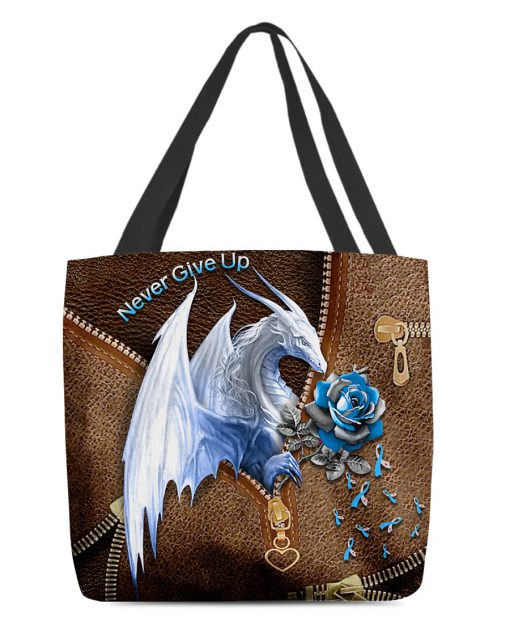 Never Give Up Diabetes Dragon Sunflower Leather Pattern tote bag 2
