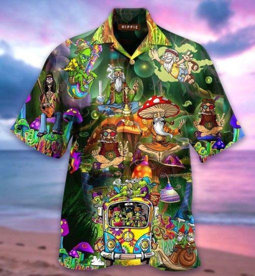 Old Mushrooms Hippie Weed Hawaiian Shirt