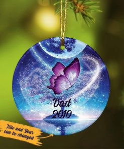 Personalized Butterfly Memorial Ceramic Ornament 3