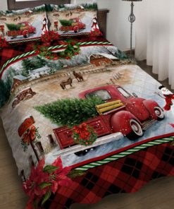 Red Christmas truck bedding set