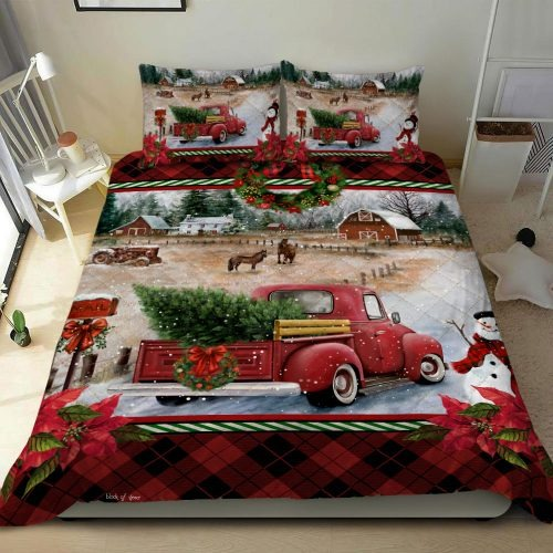 Red Christmas truck bedding set1