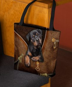 Rottweiler Dog as leather zipper tote bag 1