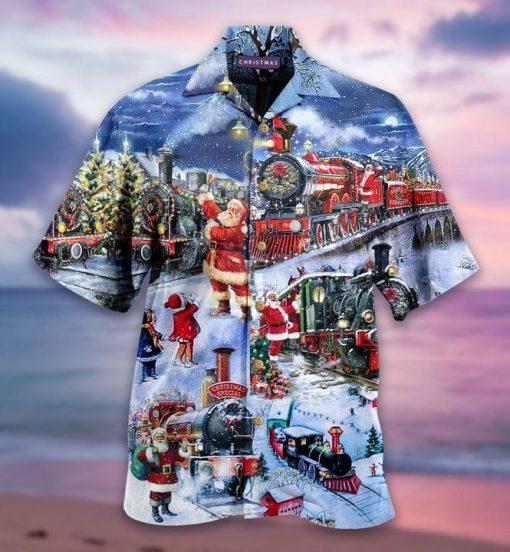 Santa Claus Christmas Train Hawaiian Shirt 0