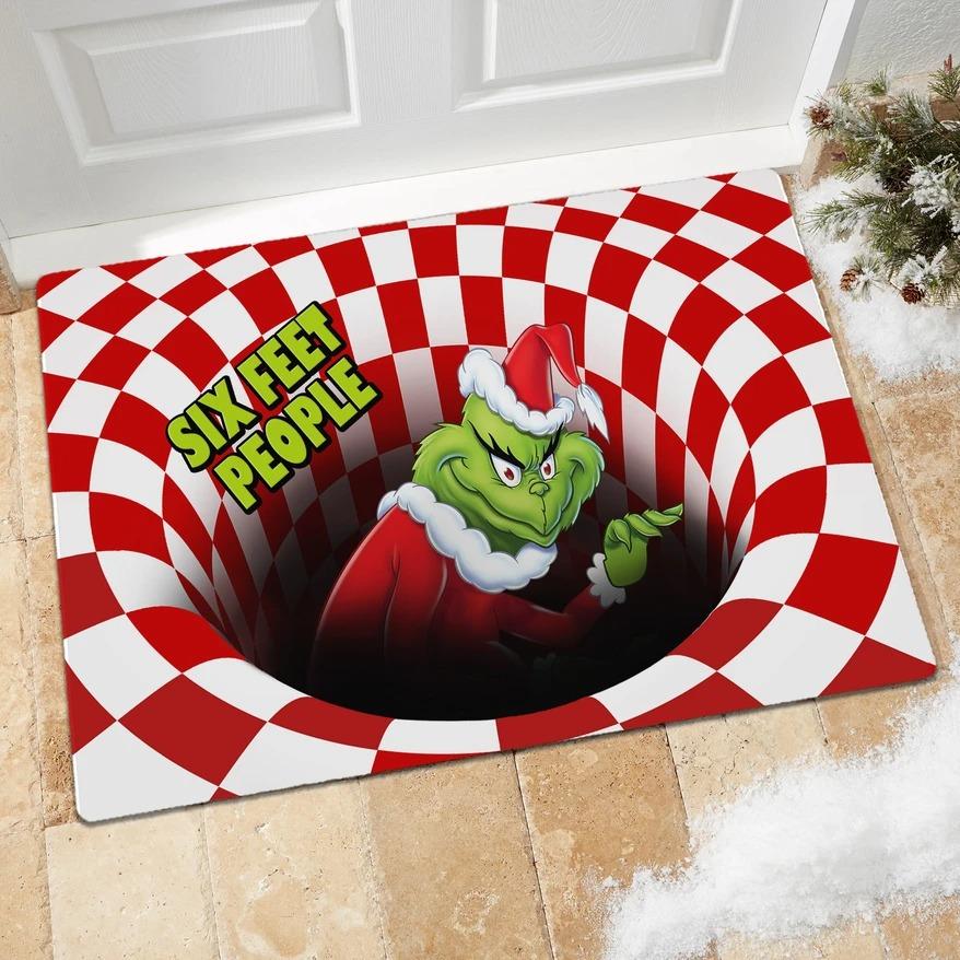 Six Feet People Grinch Optical illusion 3D Hole Doormat
