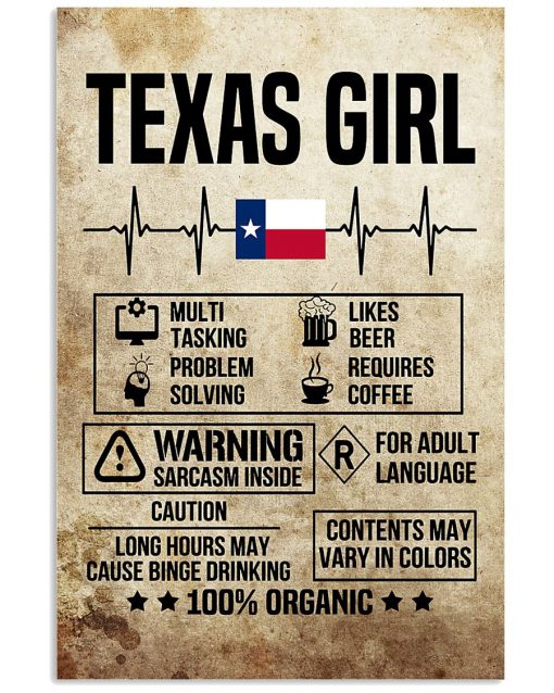 Texas Girl Multi tasking Problem solving Likes Beers Requires coffee poster