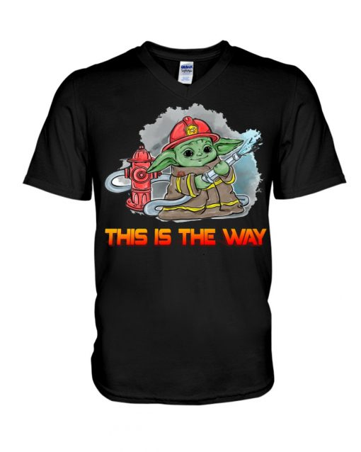 This is the way Baby Yoda Firefighter v-neck