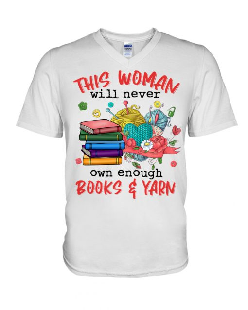This woman will never own enough Books and Yarn v-neck