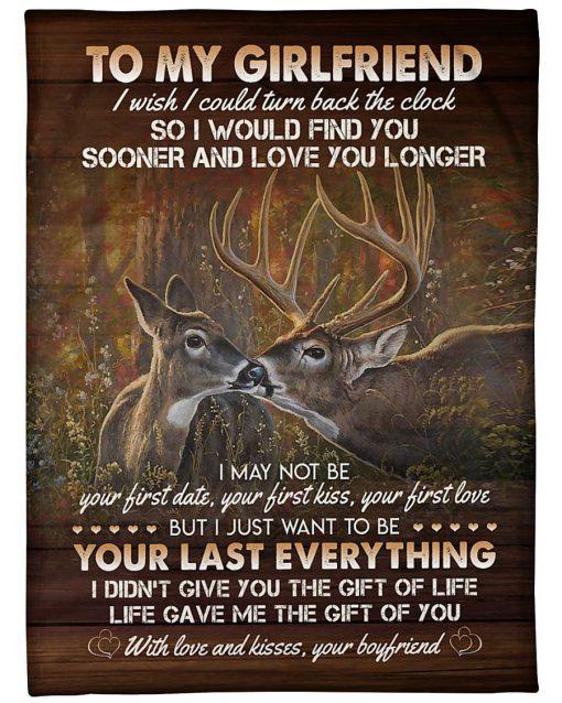 To my girlfriend I wish I could turn back the clock Deer fleece blanket