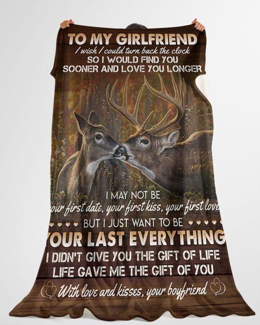 To my girlfriend I wish I could turn back the clock Deer fleece blanket2
