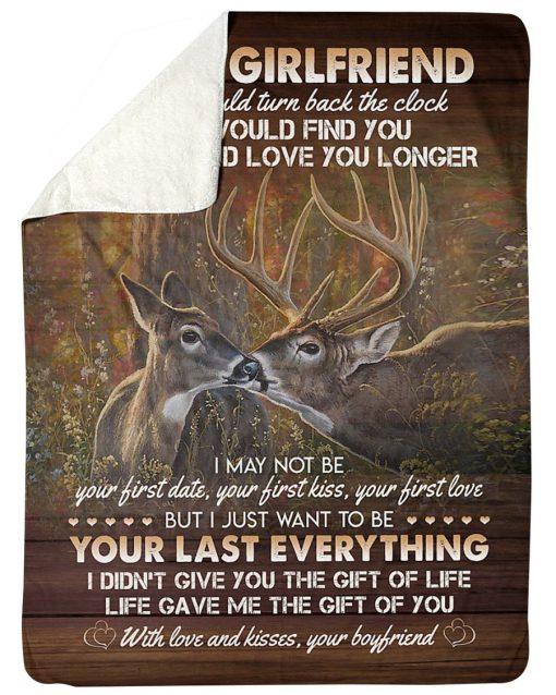 To my girlfriend I wish I could turn back the clock Deer fleece blanket5