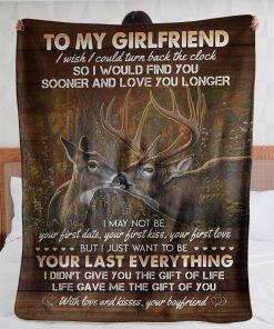 To my girlfriend I wish I could turn back the clock Deer fleece blanket7