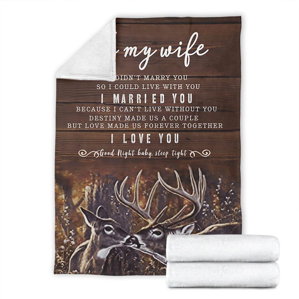 Look Right Beside You Sofa Fleece Blanket 50-80 To My Wife Deer
