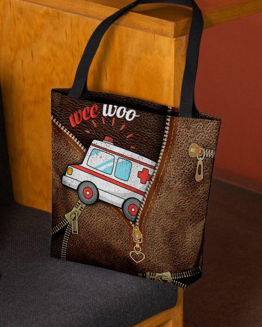 Wee Woo Ambulance as leather zipper tote bag 2