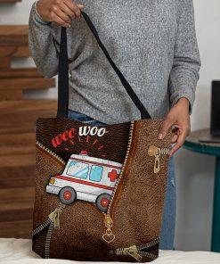 Wee Woo Ambulance as leather zipper tote bag 3
