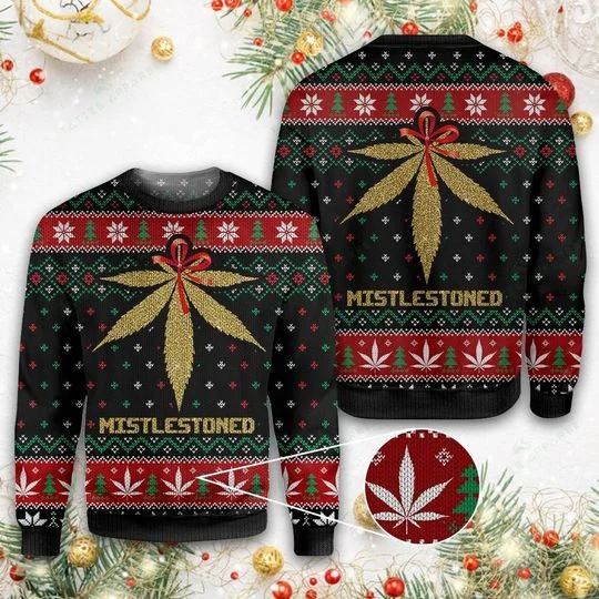 Weed Mistlestoned Ugly Christmas Sweater