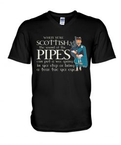When ye're Scottish the sound of the pipes can put a wee spring v-neck
