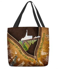Wherever I go I carry a little bit of West Virginia with me as leather zipper tote bag