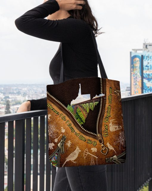 Wherever I go I carry a little bit of West Virginia with me as leather zipper tote bag2