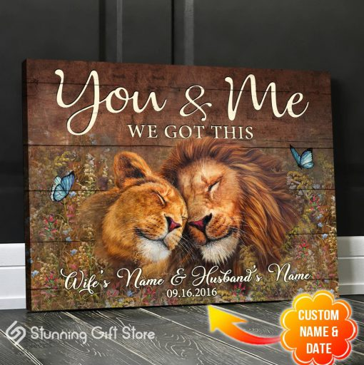 You And Me We Got This Lion personalized canvas 2
