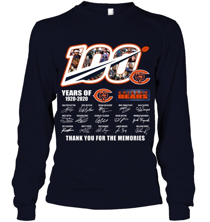 100 Years Of Chicago Bears 1920-2020 Thank You For The Memories Long sleeve