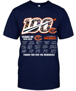 100 Years Of Chicago Bears 1920-2020 Thank You For The Memories T-Shirt