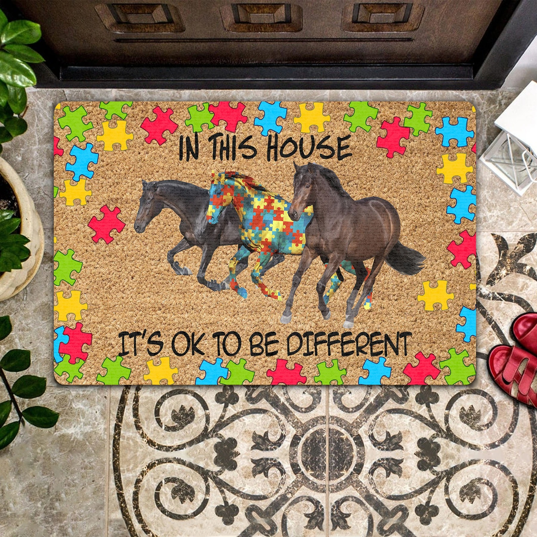 Autism Horse In This House It's Ok To Be Different Doormat