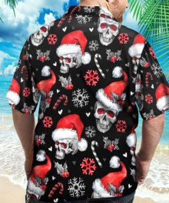 Black Christmas Santa Skull Hawaiian Shirt