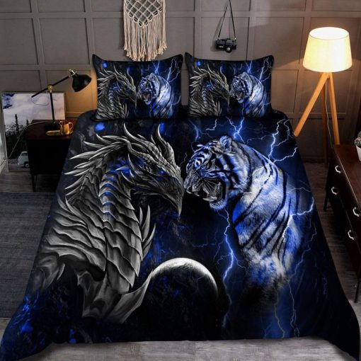 Blue Dragon Tiger Bedding Set