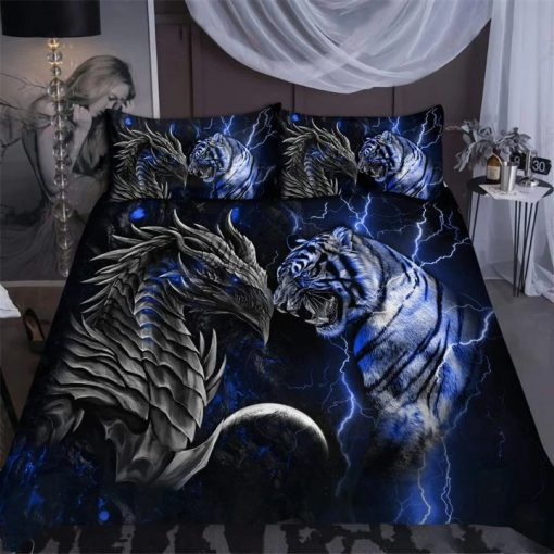 Blue Dragon Tiger Bedding Set1