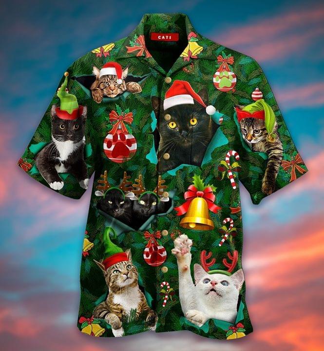 Fantastic Cat Christmas Hawaiian Shirt