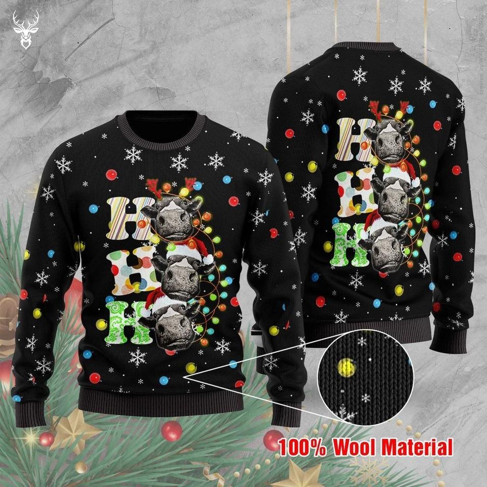 Cow Ho Ho Ho 3D Ugly Christmas Sweater