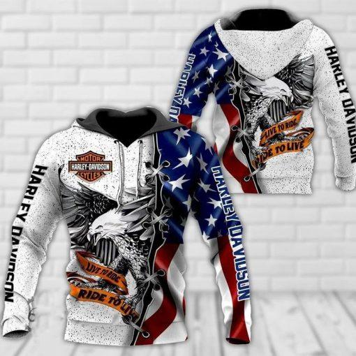 Harley Davidson Live To Ride 3d Hoodie