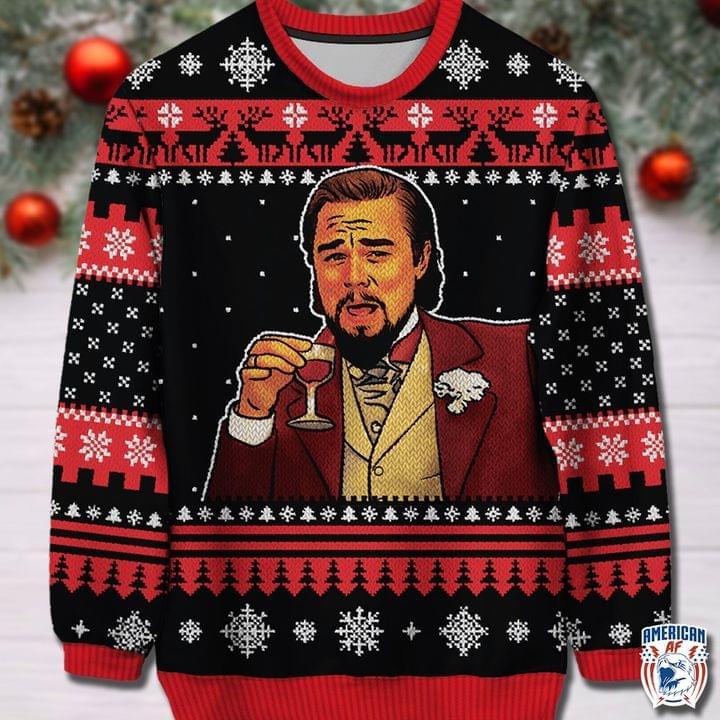 Leonardo DiCaprio Laughing Meme Ugly Christmas Sweaters