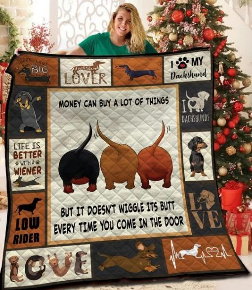 Money can buy a lot of things but it doesn't wiggle its butt every time you come in the door Dachshund Quilt
