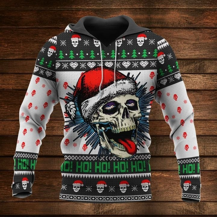 Naughty Skull Ho Ho Ho Ugly Christmas Sweater