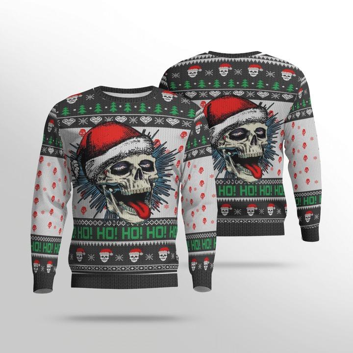 Naughty Skull Ho Ho Ho Ugly Christmas Sweater1