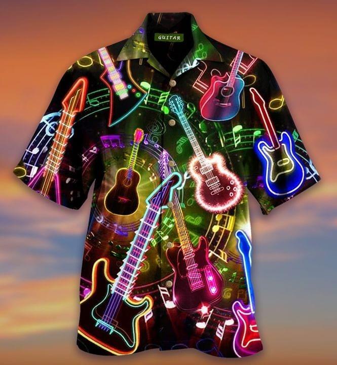 3D Neon Guitar Light Hawaiian Shirt