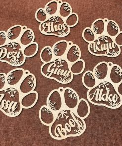 Personalized Dog Cat Paw Christmas Ornament