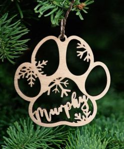 Personalized Dog Cat Paw Christmas Ornament1