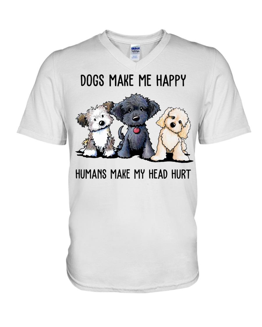 Shih Tzu Dogs Make Me Happy Humans Make My Head Hurt V-neck