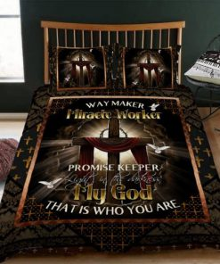 Way Maker Miracle Worker Promise Keeper Promise Keeper Light In The Darkness My God That Is Who You Are Jesus Cross Bedding Set1