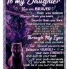 Wolf To My Daughter You Are Braver Than You Believe Stronger Than You Seem Dad Fleece Blanket 1
