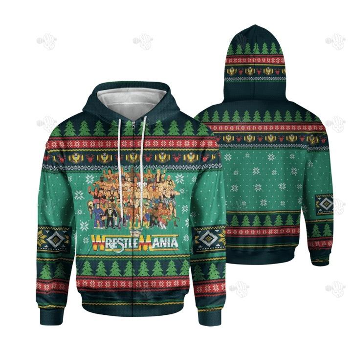 Wrestlemania Christmas 3D hoodie1