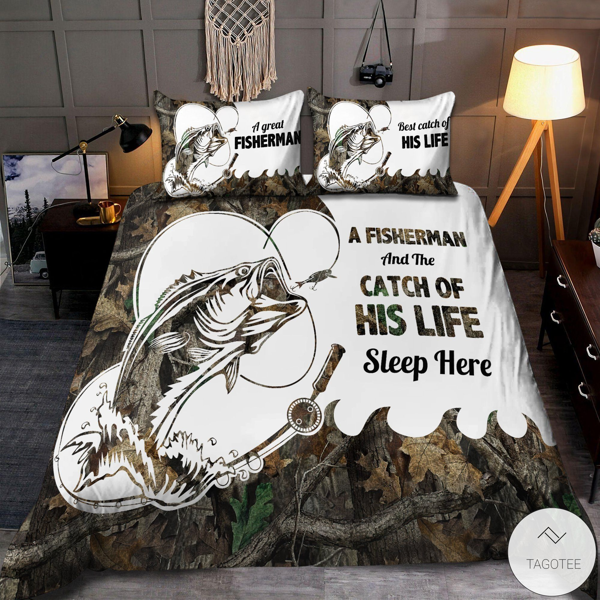 A fisherman and the catch of his life live here sleep here bedding sets2