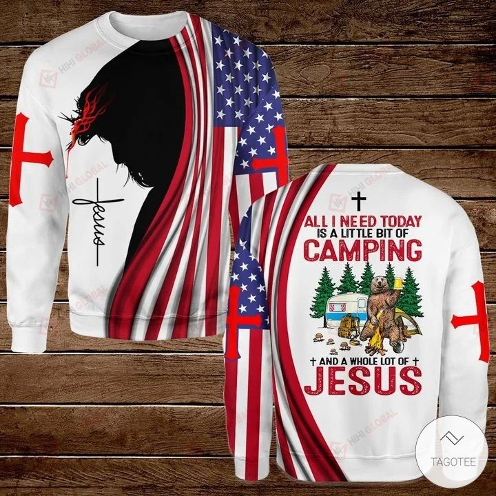 All I Need Today is A Little Bit of Camping and A Whole Lot of Jesus Hawaiian shirt, hoodies and sweatshirt3