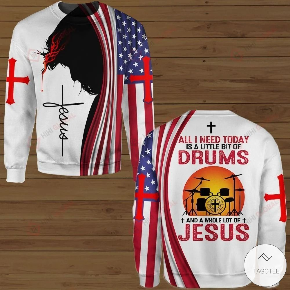 All I Need Today is A Little Bit of Drums and A Whole Lot of Jesus Hawaiian shirt, hoodies and sweatshirt3