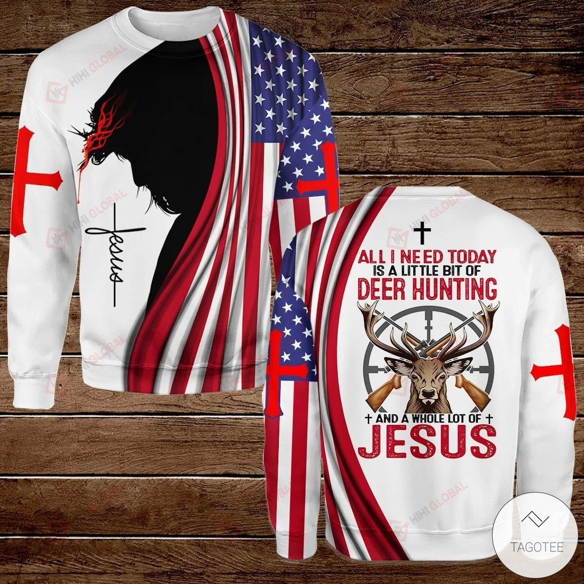 All I Need Today is A Little Bit of hunting and A Whole Lot of Jesus Hawaiian shirt, hoodies and sweatshirt3