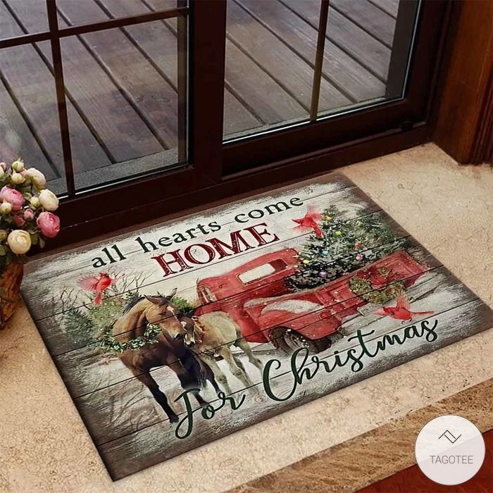 All hearts come home for christmas Horse Doormat
